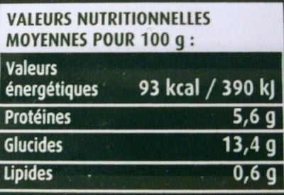 Flageolets cuisinés sélection extra-fondants - Informations nutritionnelles - fr