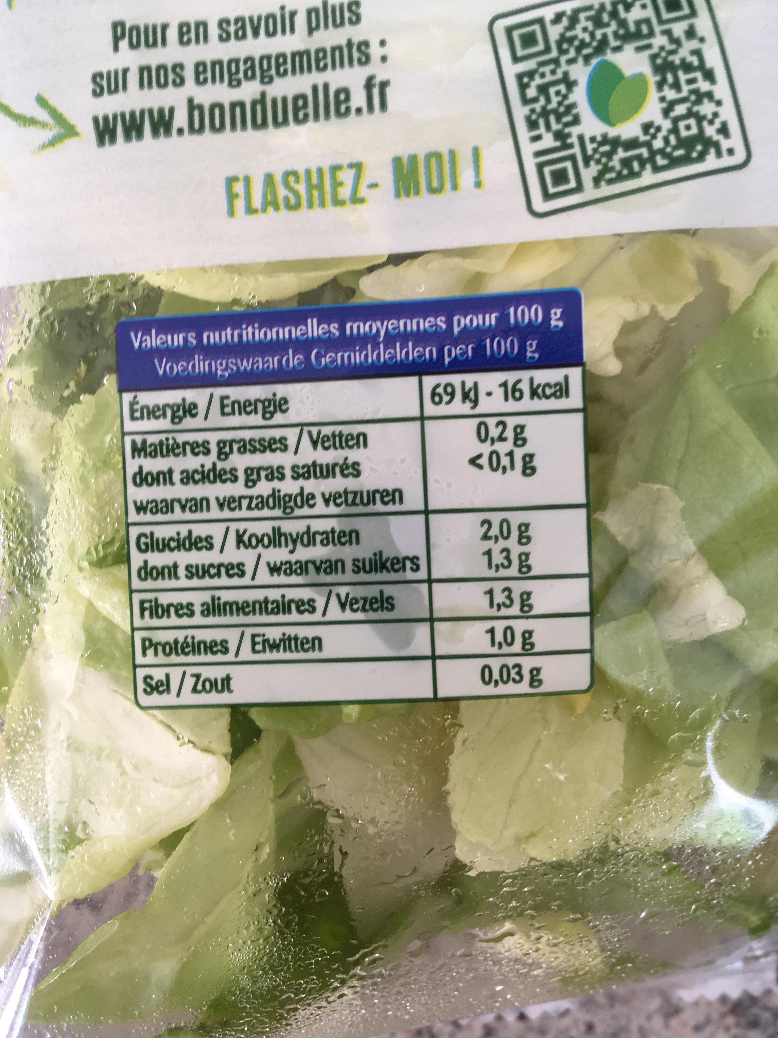 Coeur de laitue Feuilles délicates et croquantes - Voedingswaarden - fr