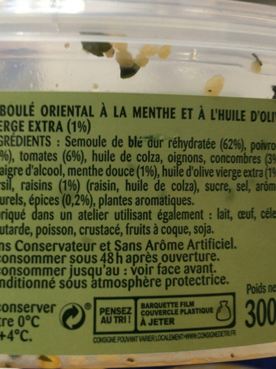 Taboulé Oriental Menthe - Ingredientes - fr