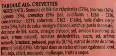 Taboulé aux crevettes - Ingrediënten - fr