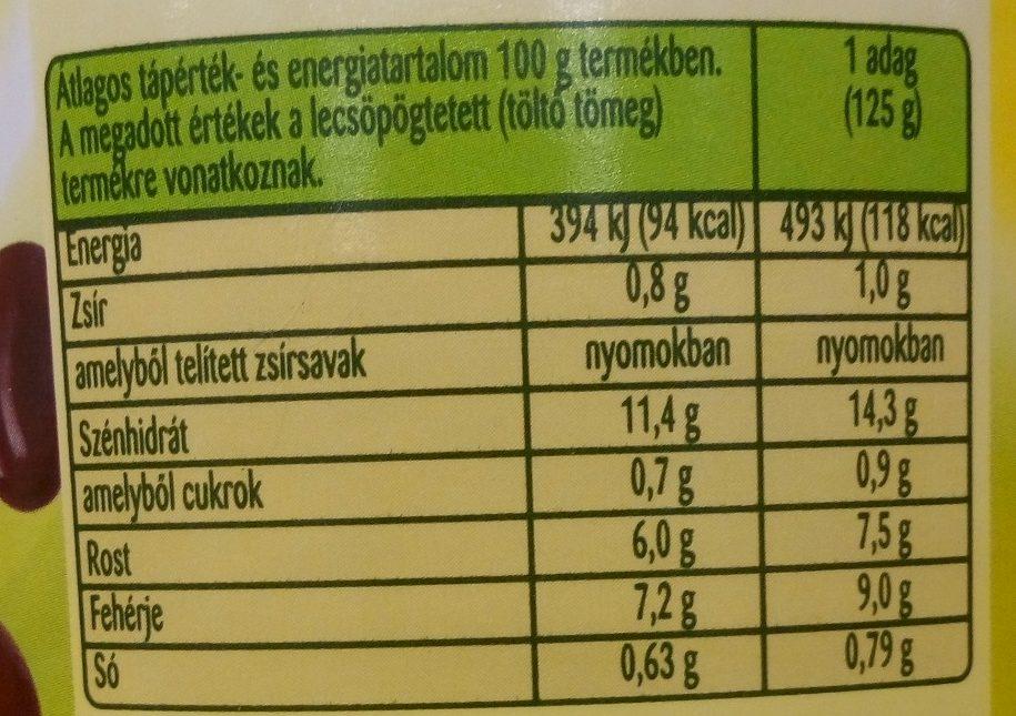 Vörösbab Családi kiszerelés - Nutrition facts - hu