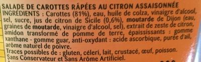 Carottes râpées au Citron de Sicile - Ingrédients