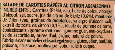 Carottes râpées au Citron de Sicile - Ingrediënten - fr