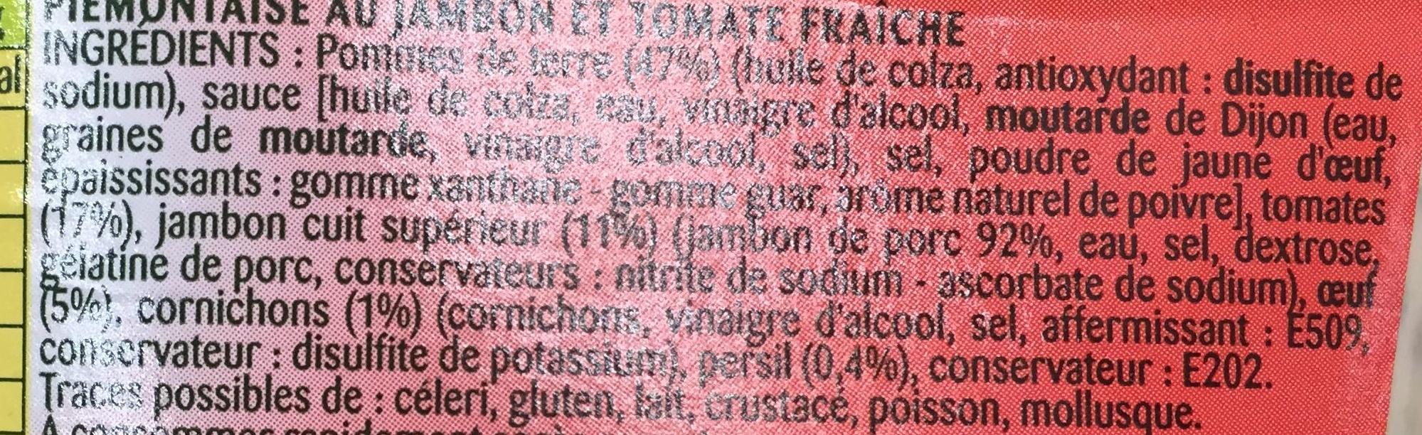 Piémontaise au Jambon et Tomate fraîche - Ingredients