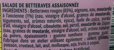Betteraves à la Moutarde à l'Ancienne - Ingrediënten - fr
