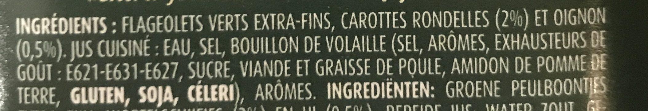 Flageolets Cuisinés Sélection il y a 3 additifs douteux - Ingrediënten - fr