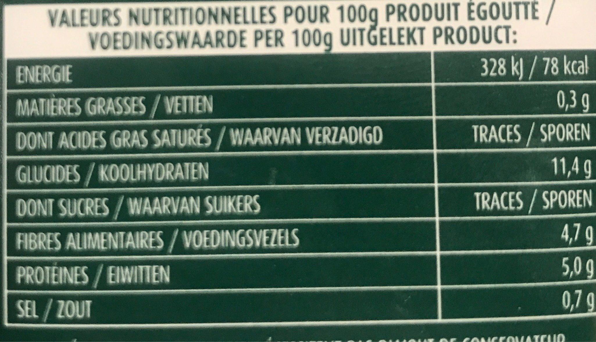 Flageolets Cuisinés Sélection il y a 3 additifs douteux - Voedingswaarden - fr