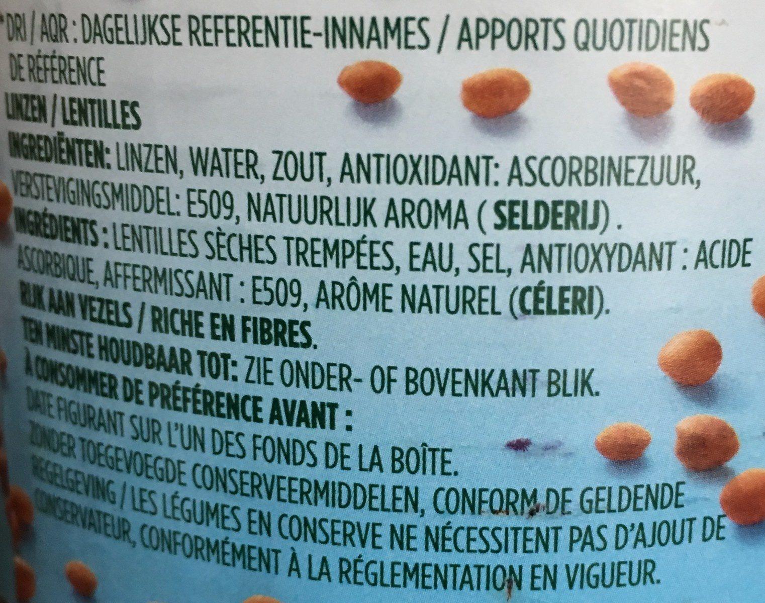 Bonduelle lentille - Ingredients - fr