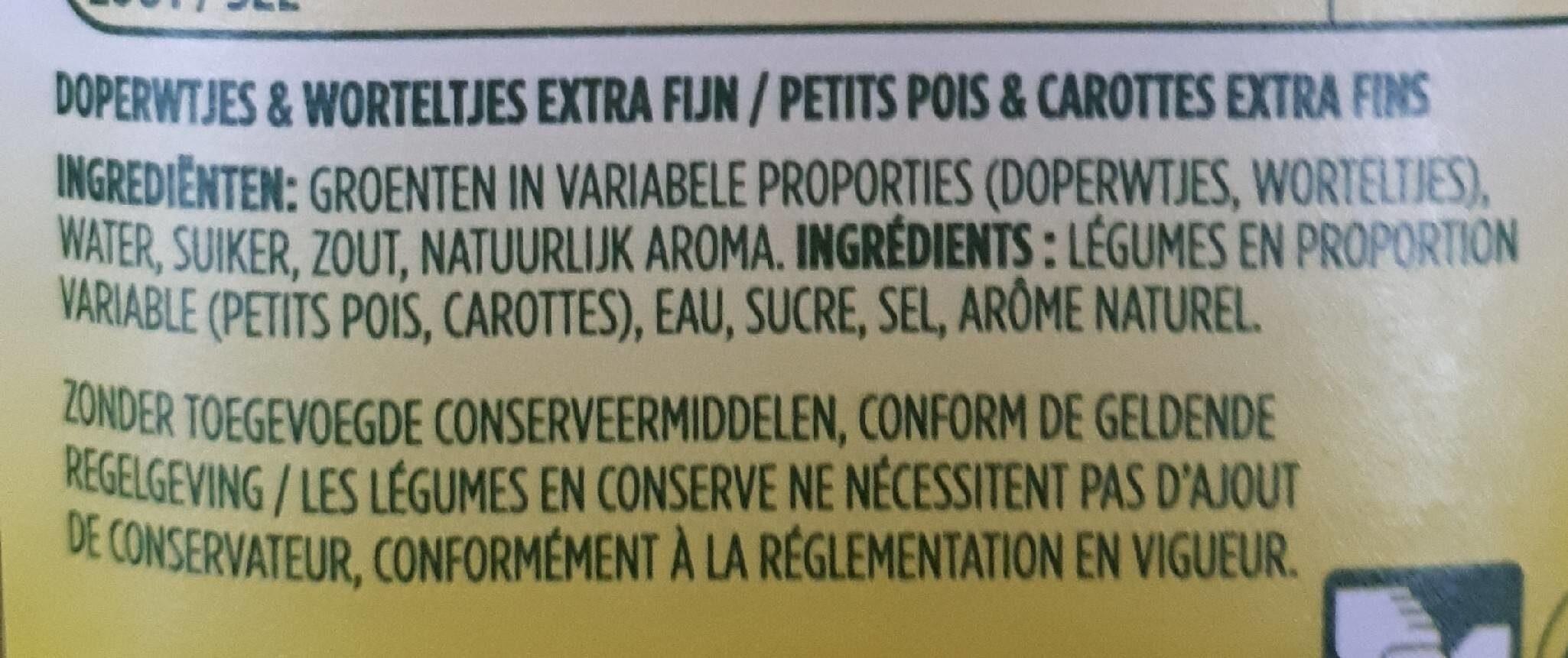 Petits pois et carottes extra fins - Ingredients - fr
