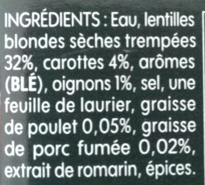 Lentilles préparées, carottes et oignons - Ingrédients