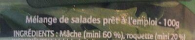 Salade en sachet Mâche Roquette - 100 pourcent fraîcheur - Ingrédients - fr
