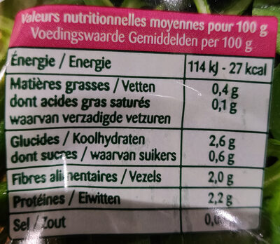 Salade en sachet Mâche Roquette - 100 pourcent fraîcheur - Informations nutritionnelles - fr