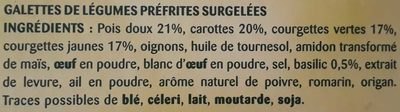 Galettes La Printanière - Duo de courgettes et petits légumes - Ingrediënten - fr