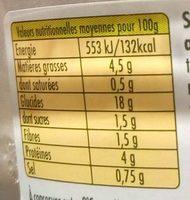 Riz à la Provençale au Thon & Basilic - Informação nutricional - fr