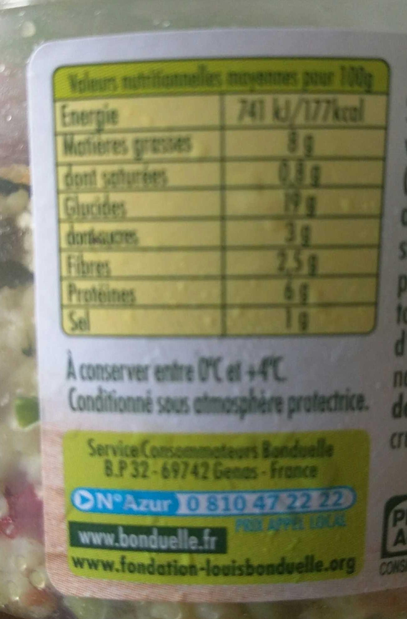 Taboulé au poulet grillé - Informations nutritionnelles - fr