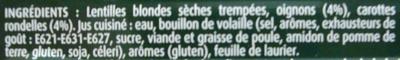 """Lentilles préparées """"tendres & fondantes"""" - Ingrédients"""