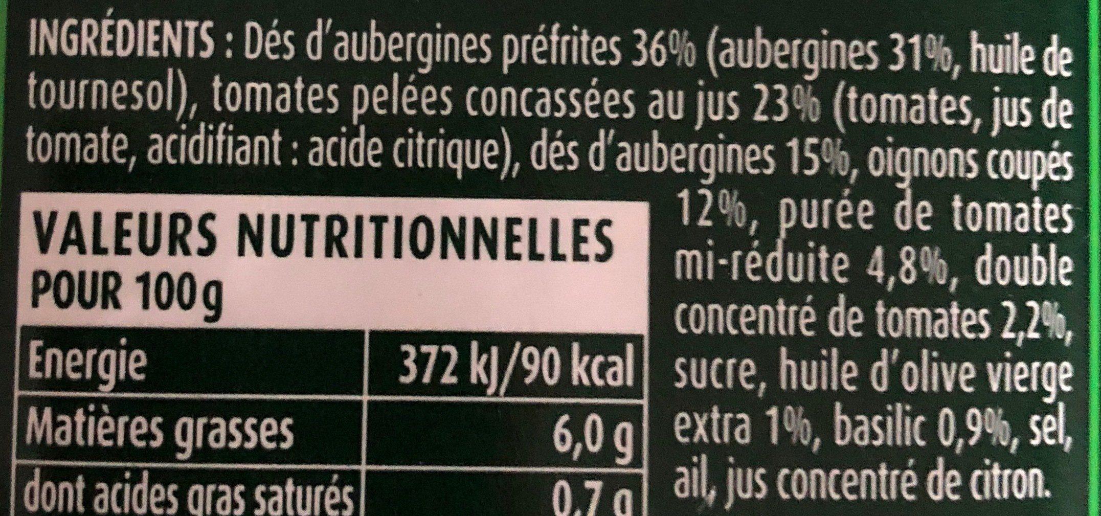 Aubergines cuisinées à la provençale - Ingrédients - fr