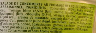 Concombres au fromage blanc et ciboulette - Ingrédients