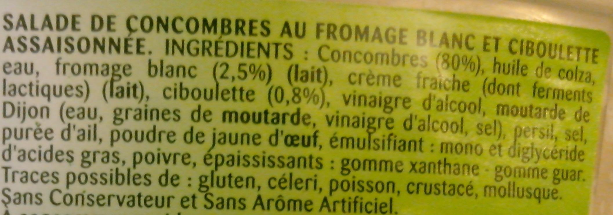 Concombres au fromage blanc et ciboulette - Ingredients - fr