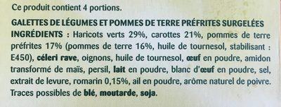 Galettes de Légumes, haricot, carotte, pdt - Ingrediënten