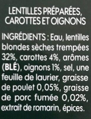 Lentilles cuisinées aux oignons et carottes - Ingrédients