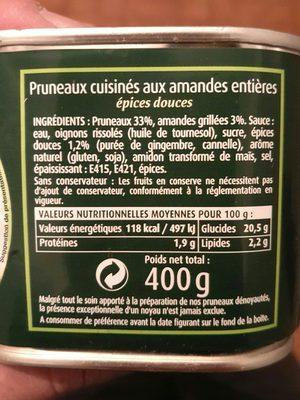 Pruneaux Aux Amandes Cassegrain - Ingredients
