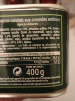 Pruneaux Aux Amandes Cassegrain - Nutrition facts