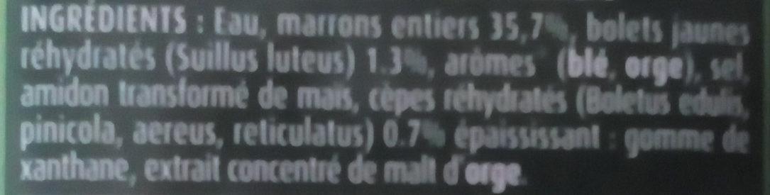 Marrons cuisinés à la Forestière - Ingredients - fr