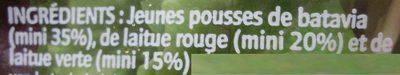 Jeunes Pousses - Ingrediënten - fr