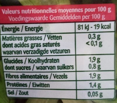 Jeunes Pousses - Voedingswaarden - fr