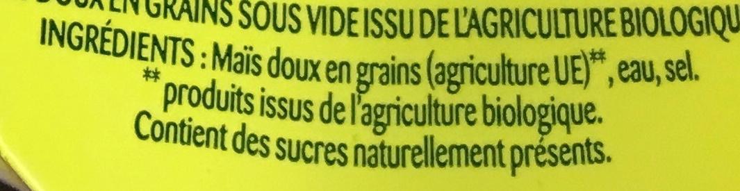 Maïs bio - Ingredients