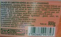 Carottes râpées au citron de Sicile (maxi format) - Ingrediënten