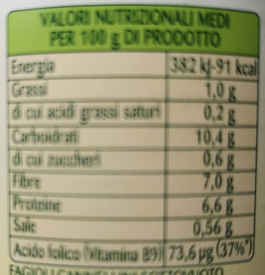 fagioli cannellini al vapore - Nutrition facts