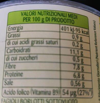 Borlotti teneri - Informations nutritionnelles - fr
