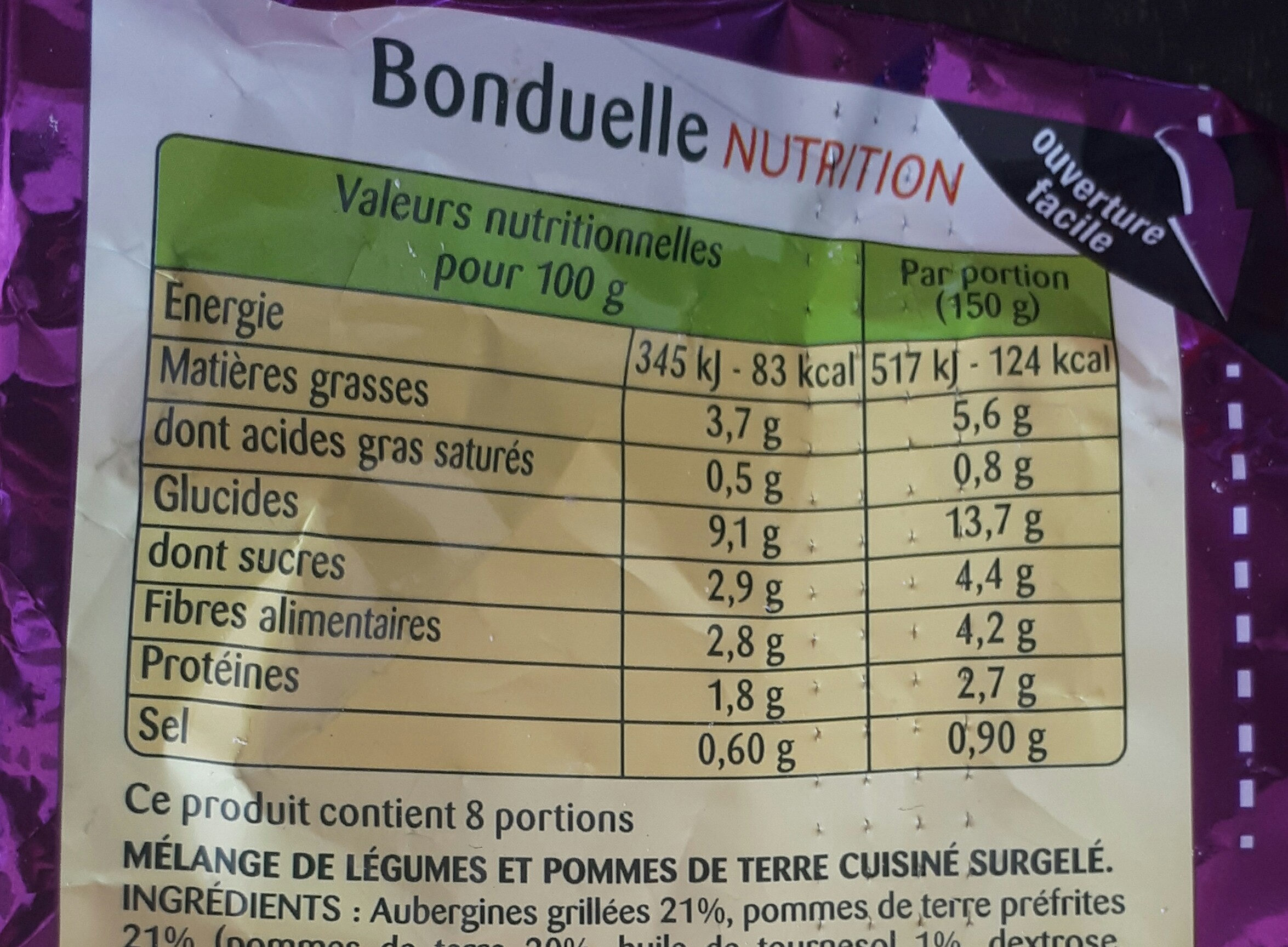Poelée Méditérranéenne - Voedingswaarden - fr