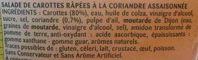 Carottes râpées à la Coriandre - Ingrédients - fr