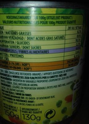 Bonduelle Doperwtjes & Worteltjes Zeer Fijn - Ingredients - fr