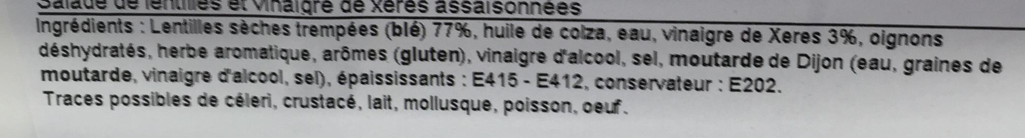 Lentilles au vinaigre de Xérès - Ingrediënten