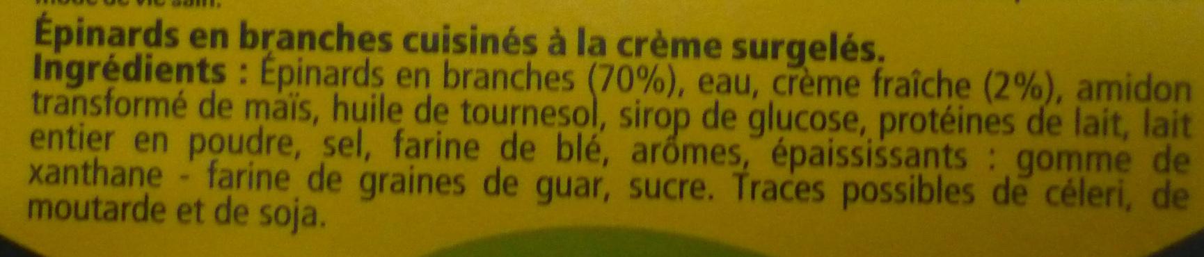 Épinards en branches à la crème fraîche - Ingrédients