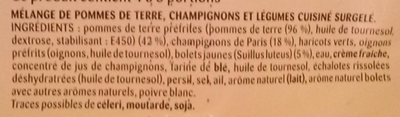 Poêlée La Rustique - Pommes de terre, Bolets, Champignons de Paris - Ingrédients - fr