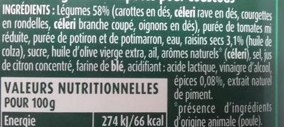Légumes comportés pour Couscous - Ingredientes - fr