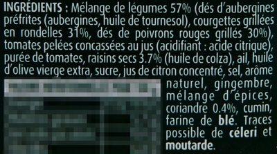 Tajine de Légumes Grillés - coriandre et raisins secs - Ingrediënten - fr