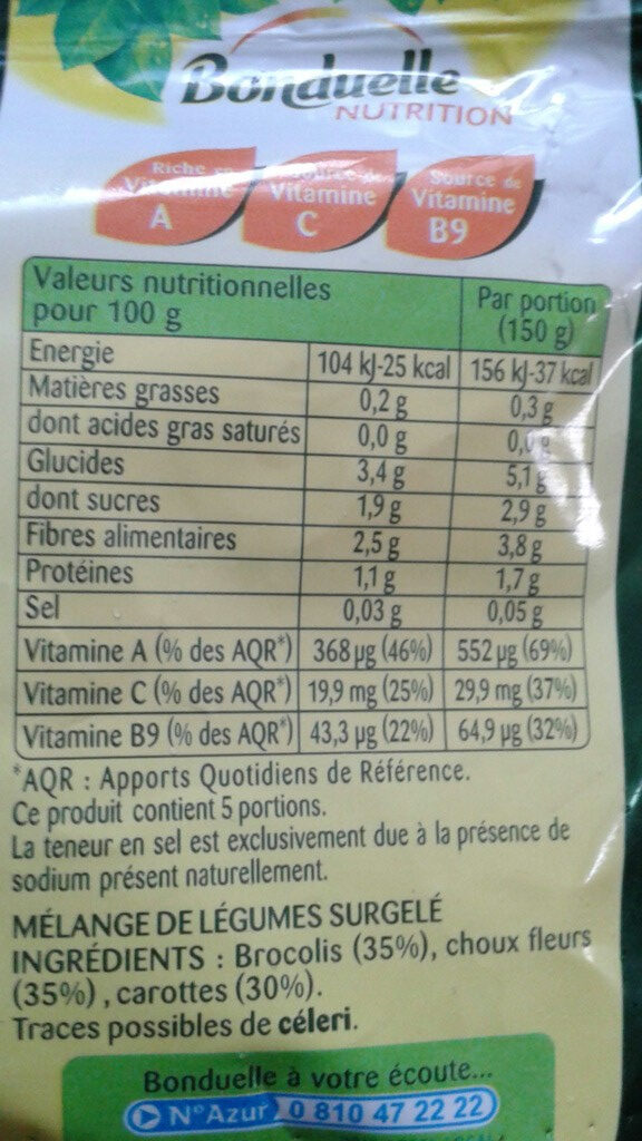 Les 3 Légumes (Choux Fleurs - Carottes - Brocolis) - Informations nutritionnelles - fr