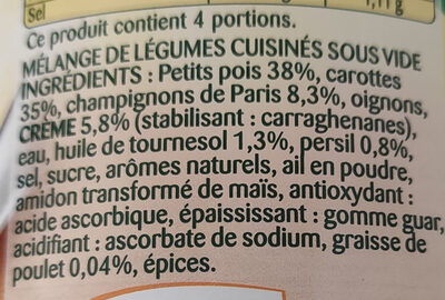 La Champêtre - petits pois - champignons de Paris - carottes - Ingredients
