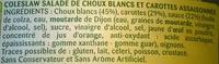 Coleslaw (Carotte, Chou blanc & Oignon), Sauce Douce - Ingrédients