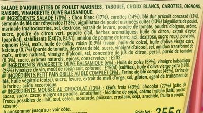 Formule Salade + Dessert Poulet mariné + Mousse au chocolat - Ingrédients