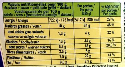 Formule Salade + Dessert Poulet mariné + Mousse au chocolat - Informations nutritionnelles
