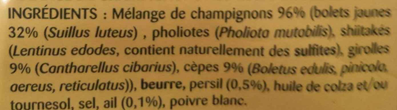 La Forestière - Ingredients