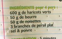 Le haricot vert extra fin - Ingrediënten