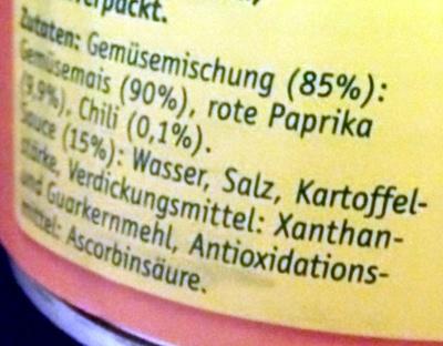 Goldmais mit Chili - Ingrediënten